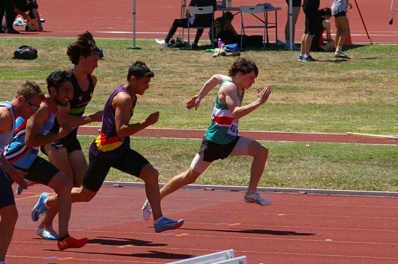 Ben running a 100m race at Doncaster earlier this year