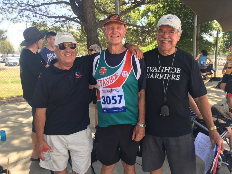 Tom Hancock with old pals and fellow Life Members of Ivanhoe Harriers, John Boas and Jeff Franklin